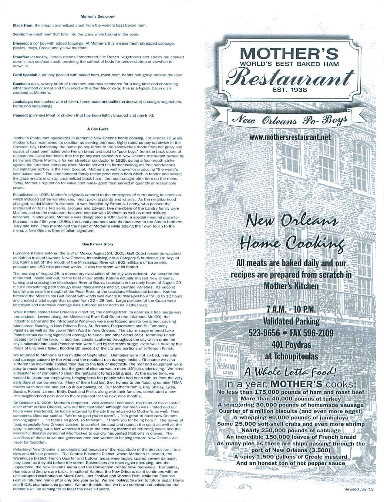 menu menu for mother 39 s restaurant warehouse district new orleans