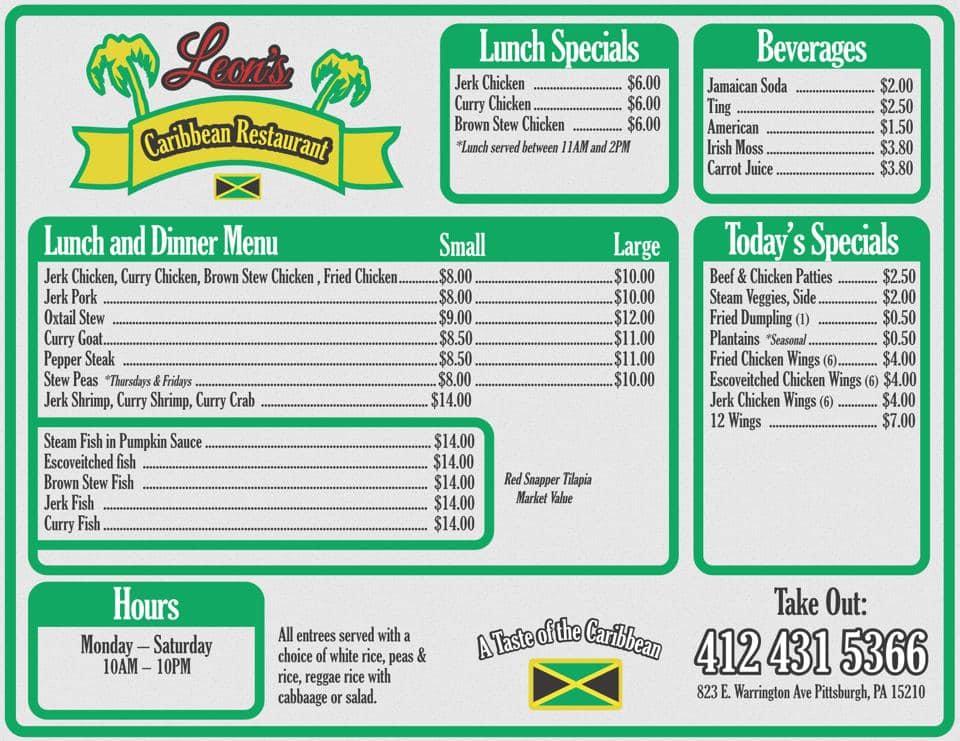 leon's caribbean restaurant menu  urbanspoon/zomato