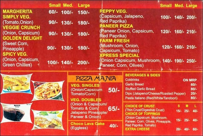 Baweja\u0027s Pizza Xpress Menu