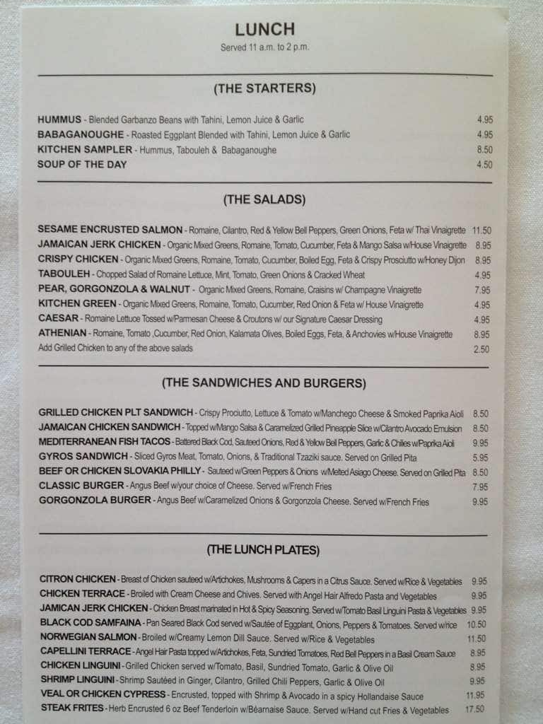 The terrace mediterreanean kitchen menu urbanspoon zomato for The terrace restaurant menu