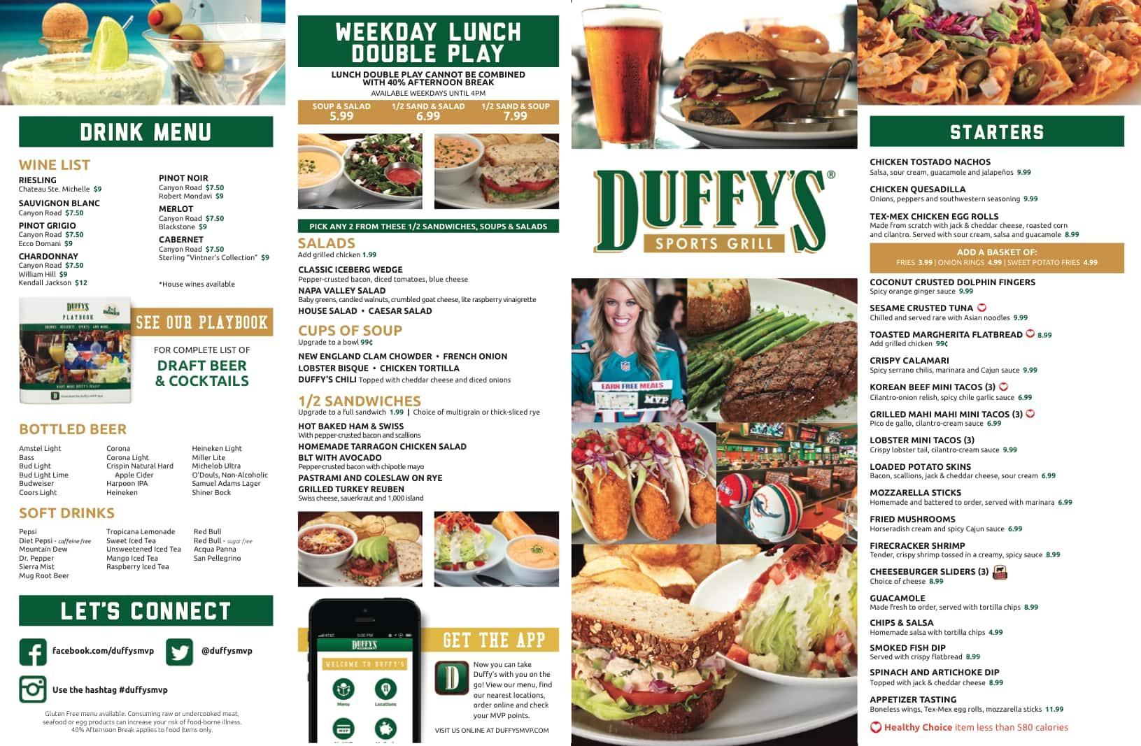 Menu Duffy S Restaurant Florida
