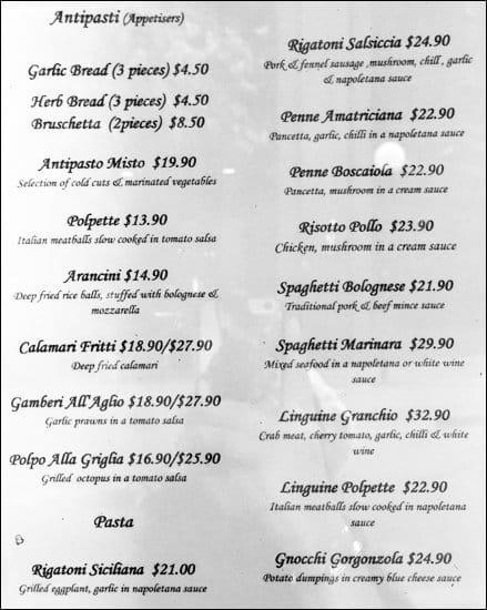 La Bora Pizzeria Ristorante a Sydney: Foto del Menu con Prezzi ...