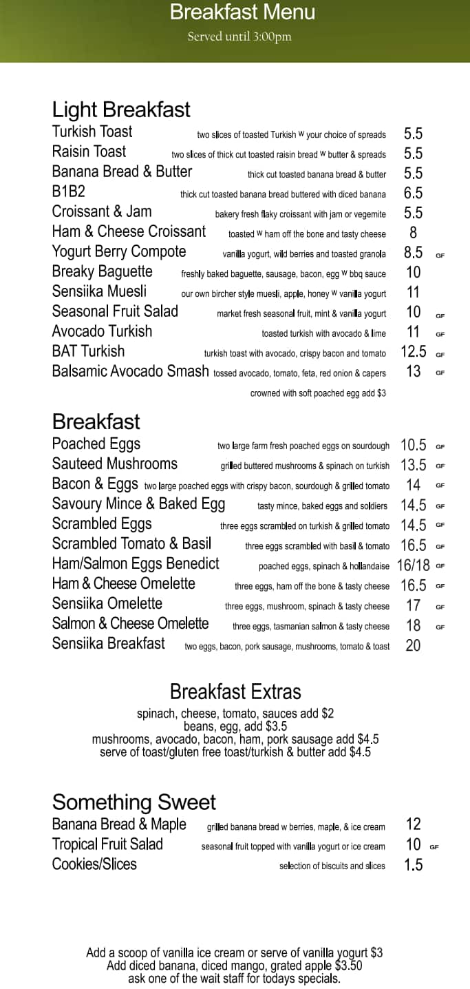Sensiika Day Spa Cafe - Asian Street Food Menu - Urbanspoon/Zomato