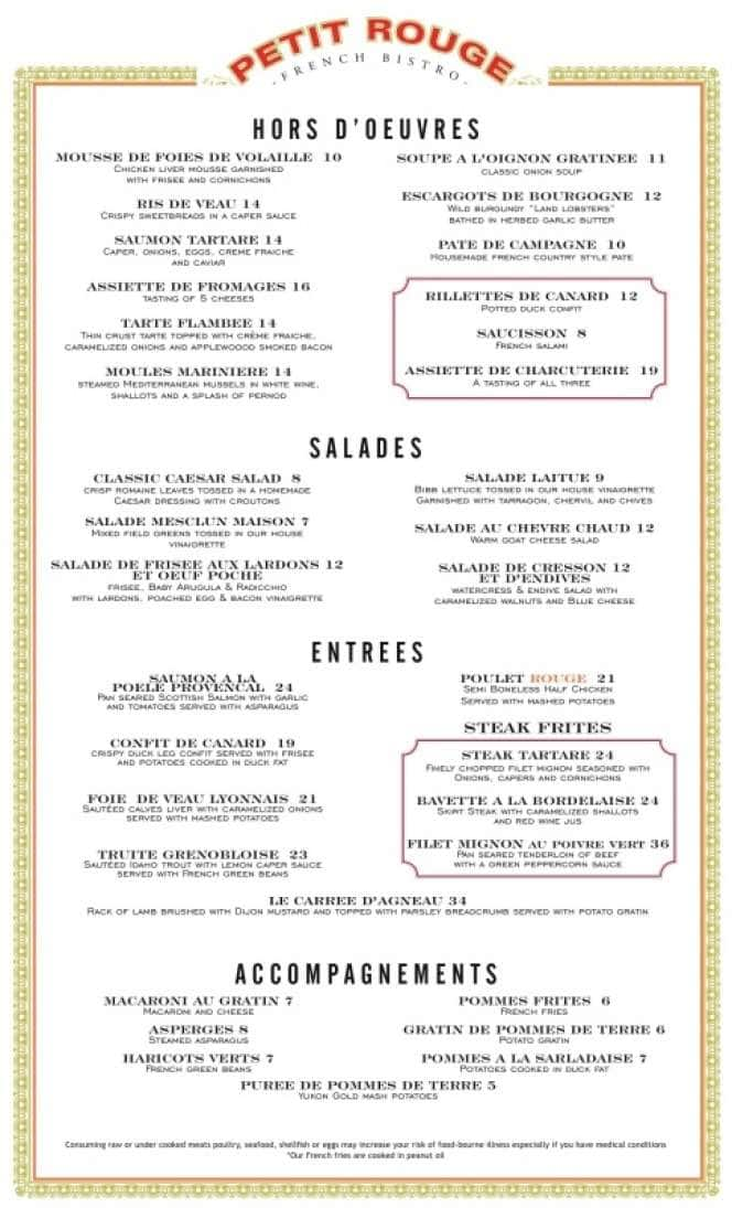 French Cafe Menu Prices