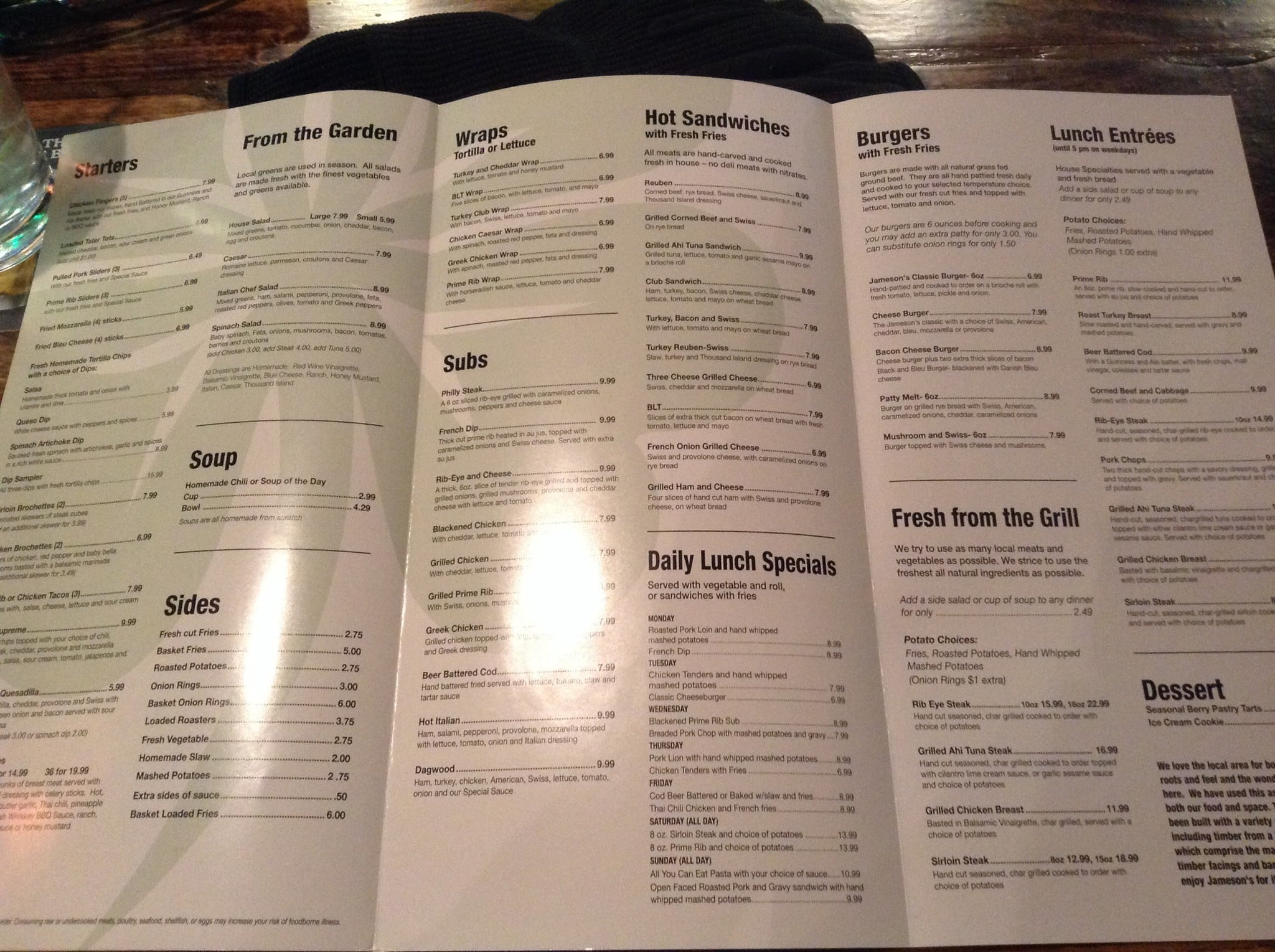 Jameson S Restaurant Fairmont Menu