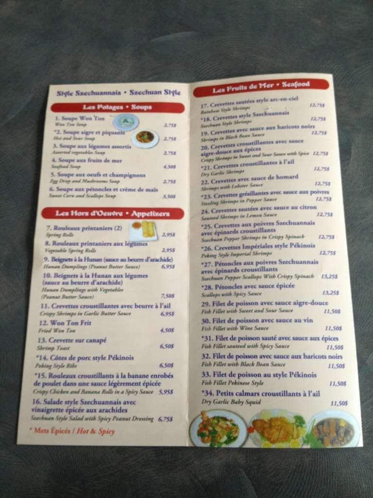 Restaurant Win Wah Dorion Menu