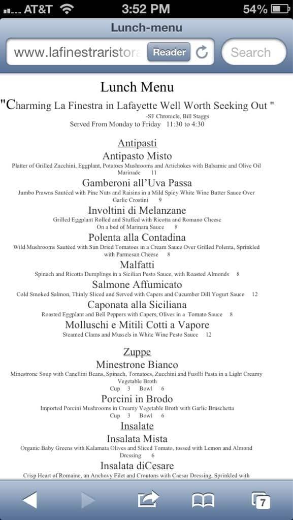 La finestra ristorante menu menu for la finestra ristorante lafayette lafayette orinda - La finestra lafayette ...