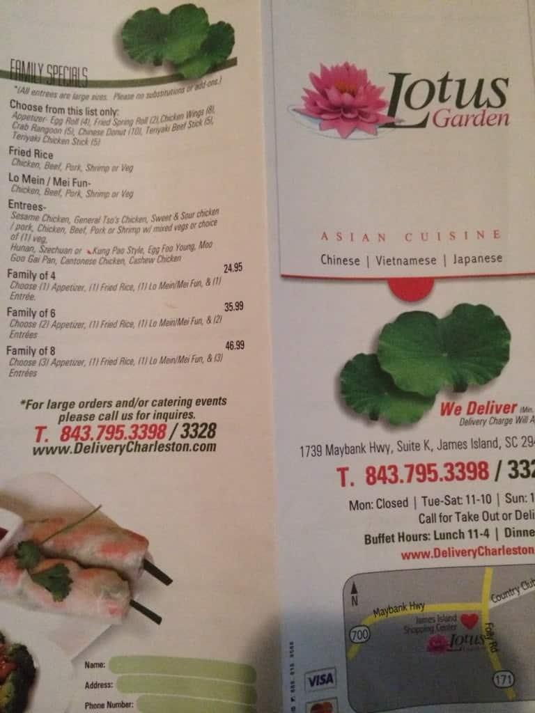 Lotus Garden Menu Menu For Lotus Garden James Island Charleston