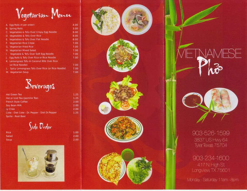 Pho Vietnamese Menu Menu For Pho Vietnamese Longview Longview