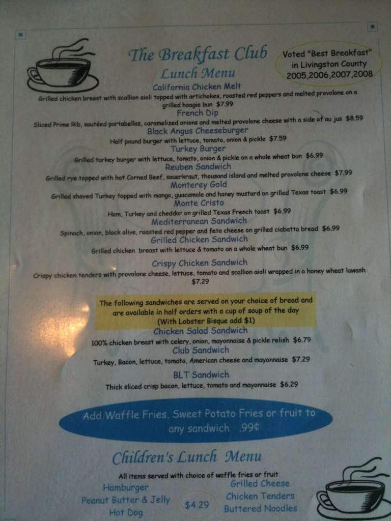 Breakfast Club Menu Menu For Breakfast Club Brighton