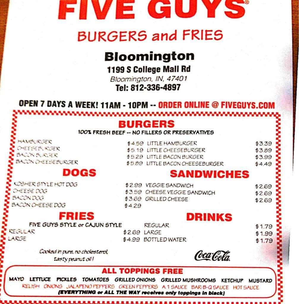 five guys burgers and fries menu - urbanspoon/zomato
