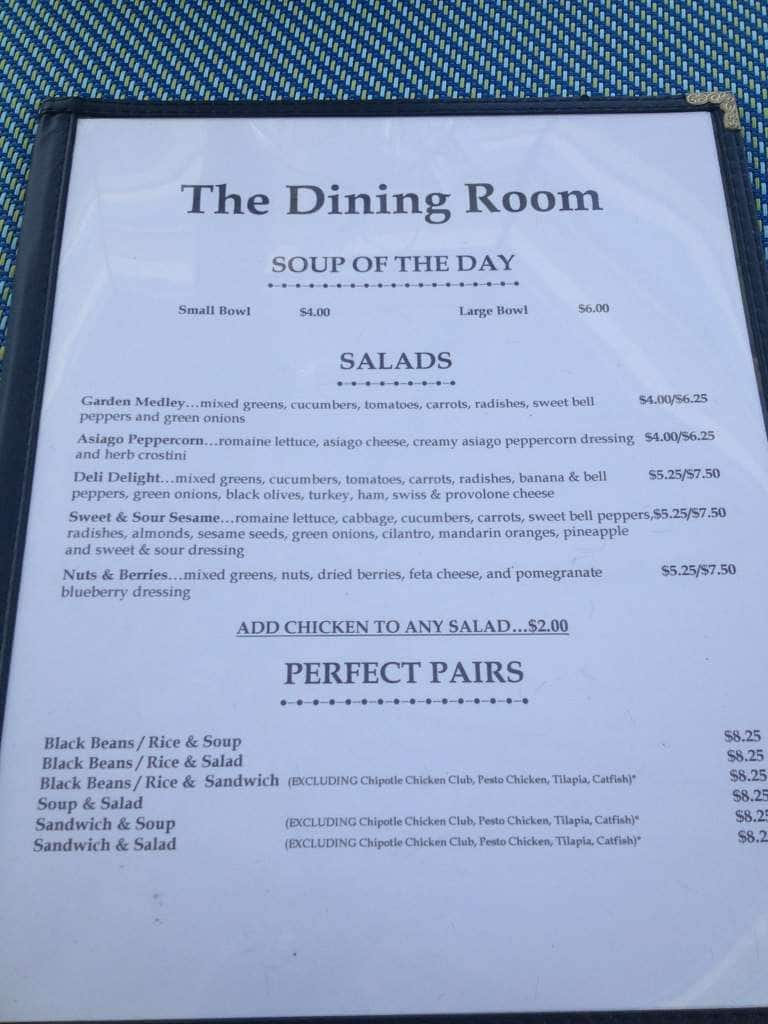 the dining room menu, menu for the dining room, jonesborough