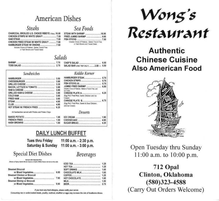 wongs restaurant menu - Wongs Garden