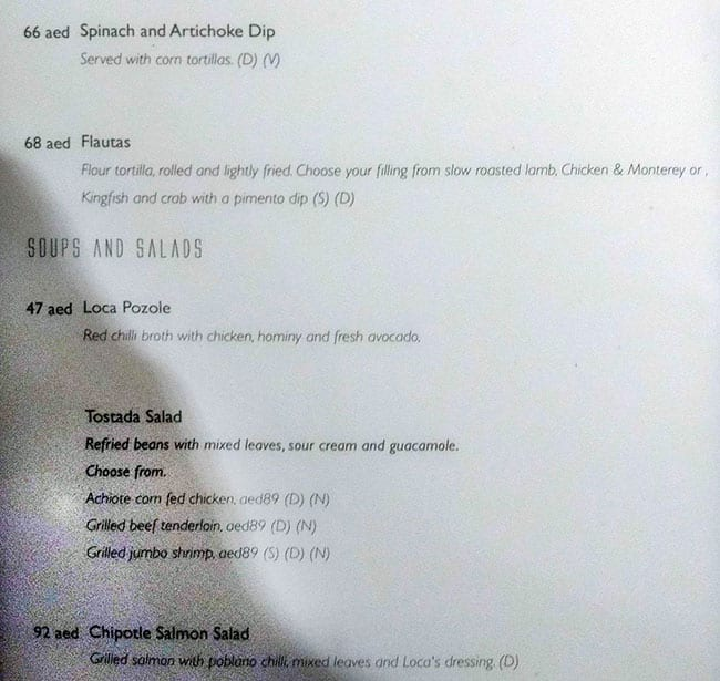منيو مطعم وبار لوكا