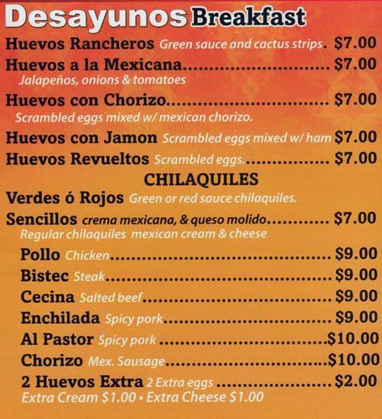 Las Palmas Restaurant Menu
