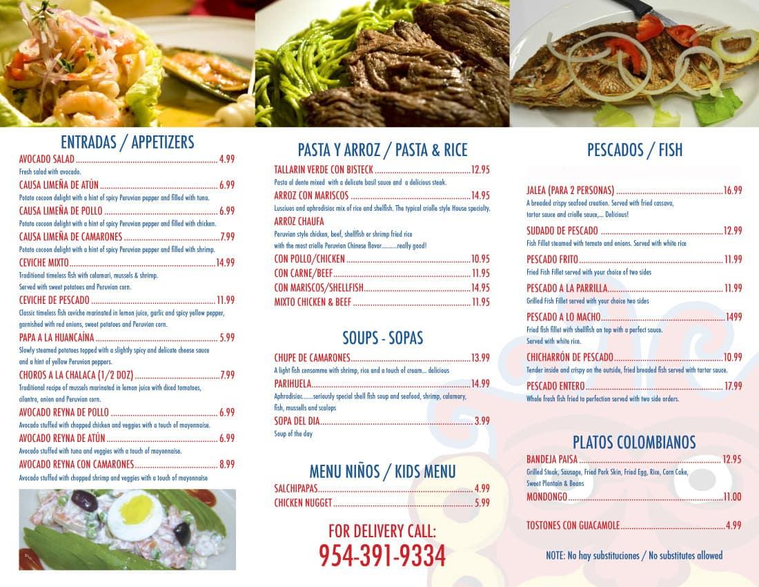 Latin Fusion Cuisine Peruvian / Colombian Menu - Urbanspoon/Zomato