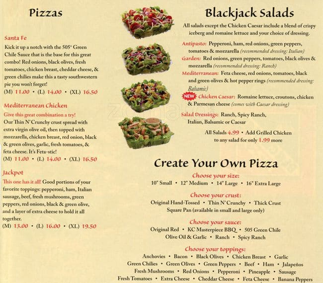 Blackjack pizza menu specials 2nd memory slot not working