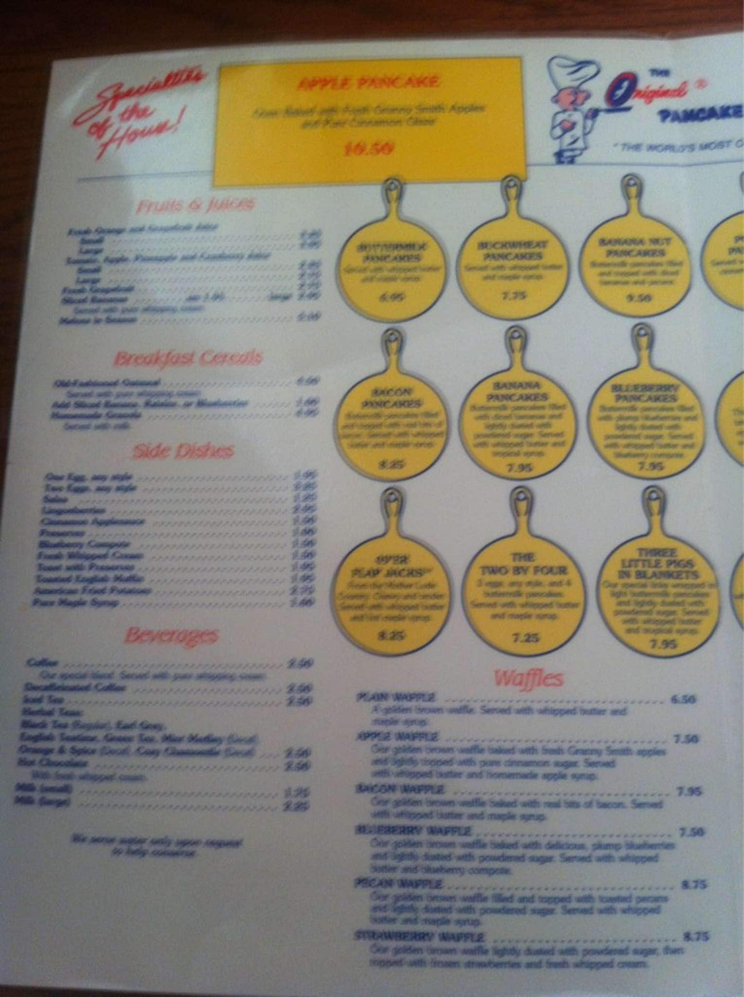 Menu at Original Pancake House restaurant San Diego Convoy St