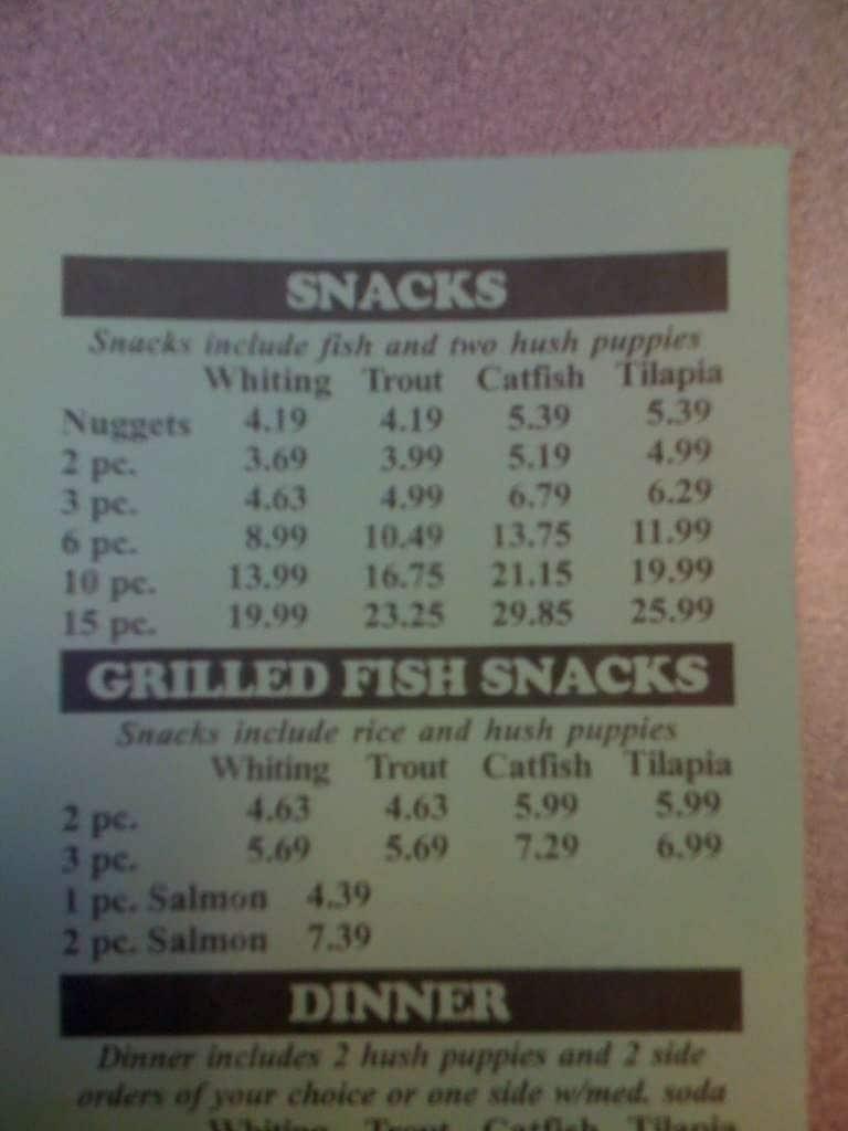 Fish supreme menu for Boston fish house menu