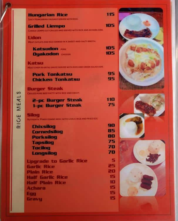 Mac Diners Menu, Menu for Mac Diners, Concepcion, Malabon City