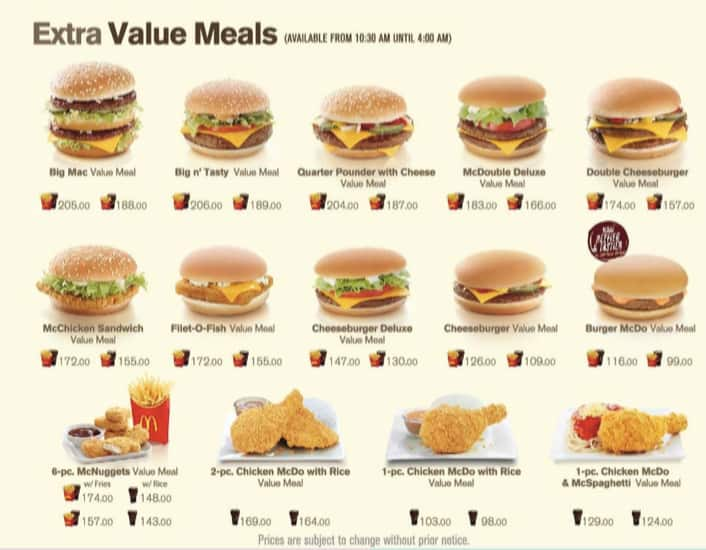 Mcdonald S Menu Menu For Mcdonald S Sampaloc Manila