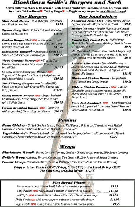 Blackthorn Grille Lake Villa Menu