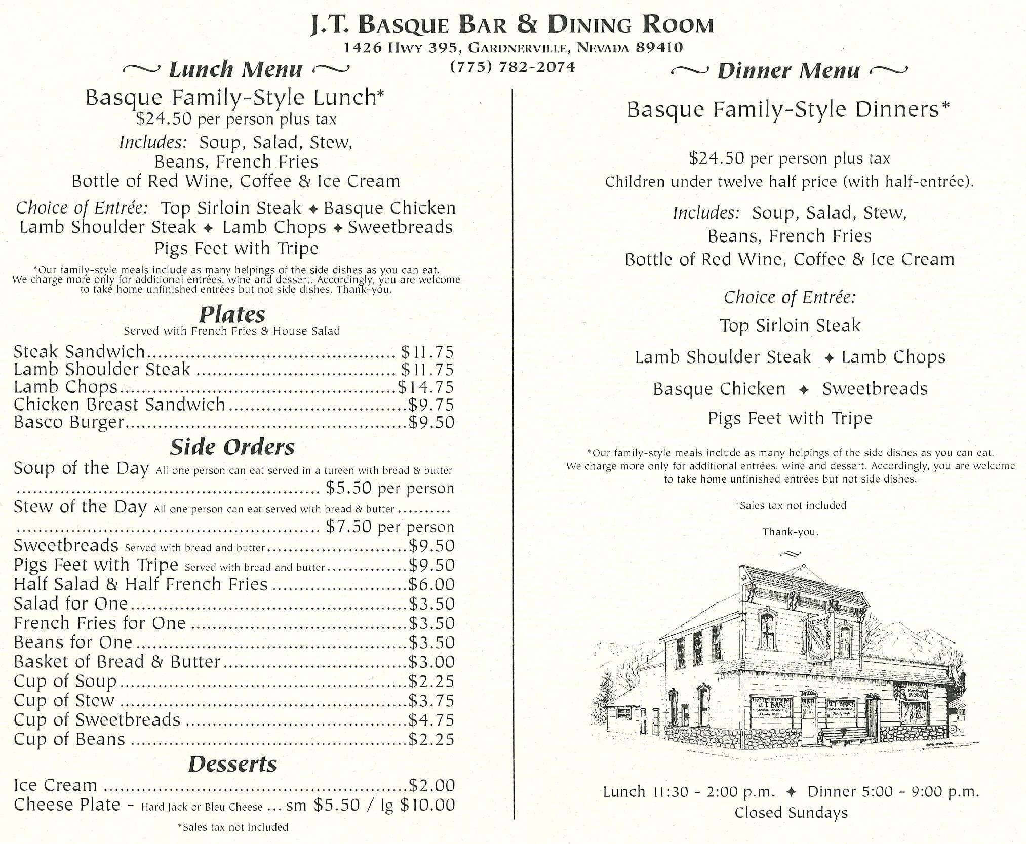 J T Basque Wine Bar Dining Room Gardnerville Menu