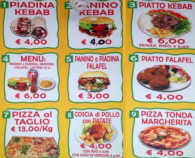 Kebab mohamed pizza a roma foto del menu con prezzi for Divan kebab carte