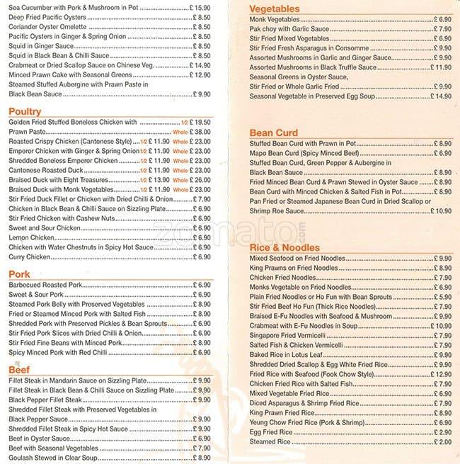 Scanned Menu For Mandarin Kitchen