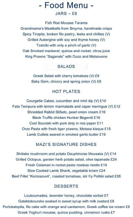 mazi menu menu for mazi notting hill london zomato uk