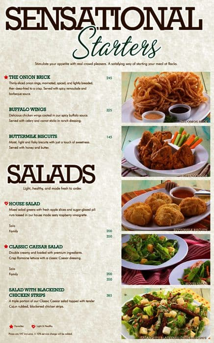 Racks restaurant menu cosmecol for The food bar zomato