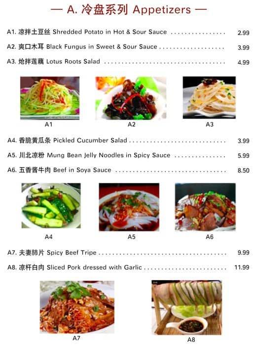 Chinese Traditional Bun Menu, Menu for Chinese Traditional