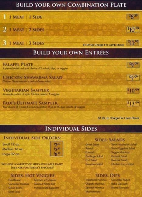 Fadi 39 s mediterranean grill menu urbanspoon zomato for Mediterranean restaurant menu