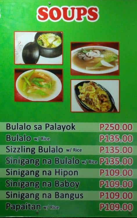 Scanned Menu For Yan Bowlalo