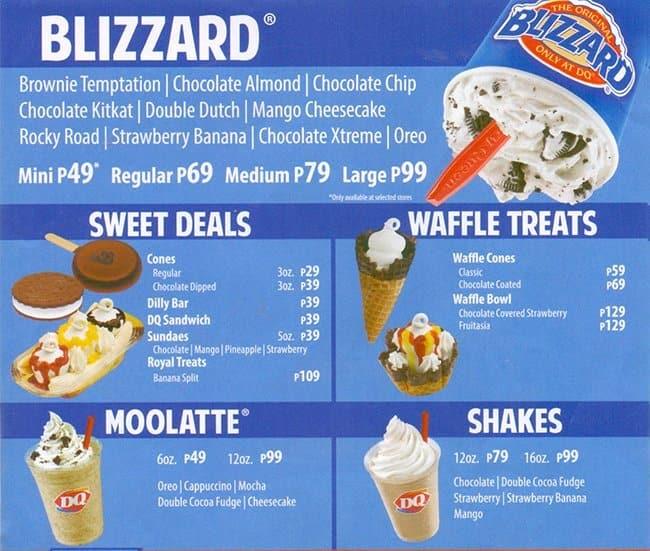 dairy queen menu