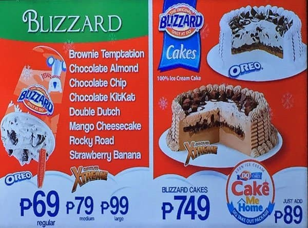 dairy queen menu and prices