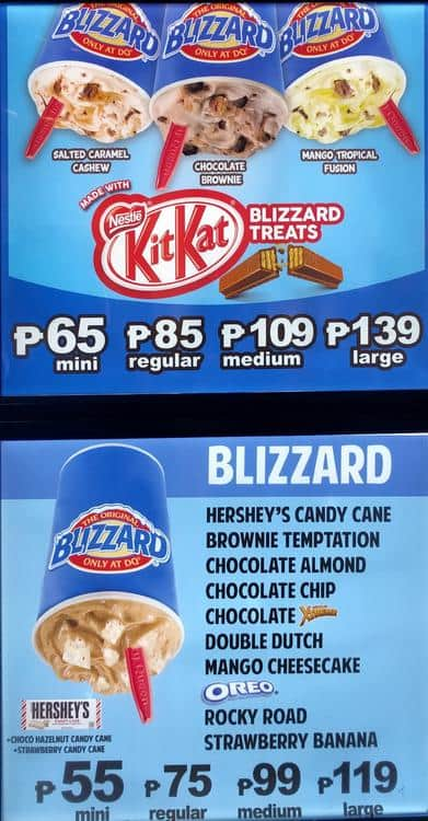 Dairy Queen Menu For Bago Bantay Quezon City