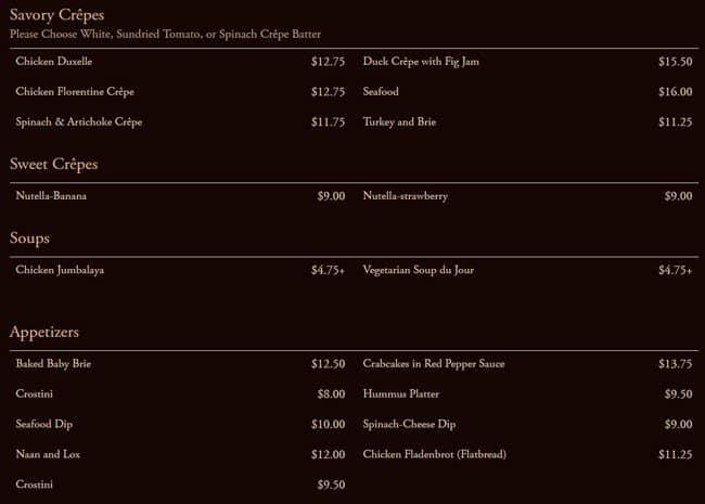 Cafe Intermezzo Menu Prices