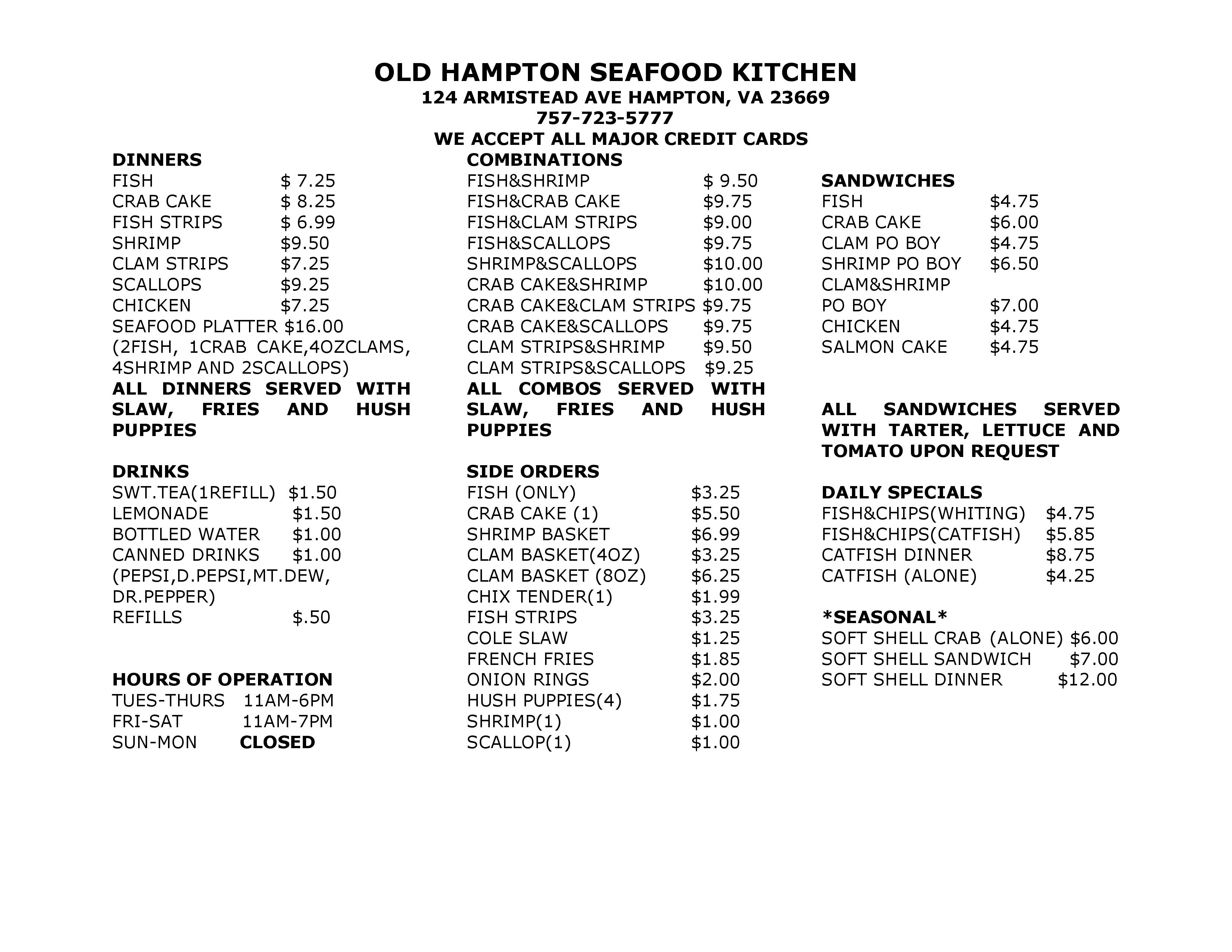 Old Hampton Seafood Kitchen Menu - Urbanspoon/Zomato