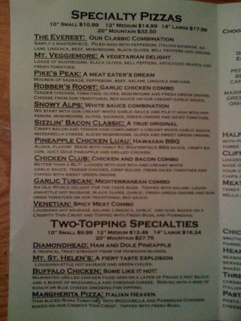 mountain mike's pizza menu - urbanspoon/zomato