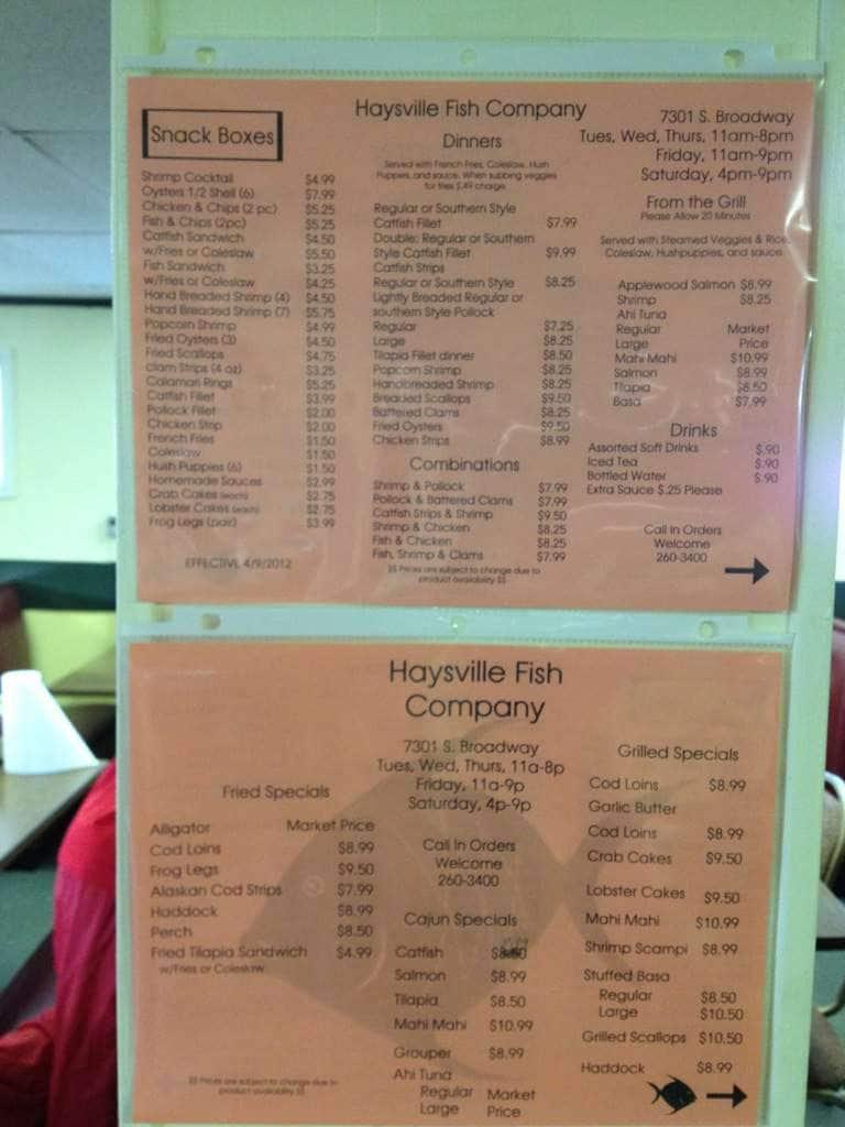 Menu at haysville fish company restaurant haysville for Two fish menu