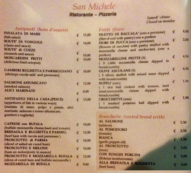 San Michele Menu Menu For San Michele Trastevere Roma Zomato Italy