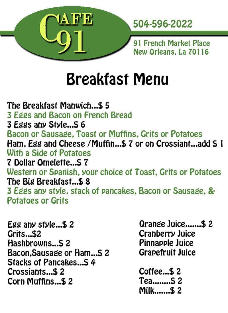 Cafe 91 Menu, Menu for Cafe 91, French Quarter, New Orleans ...