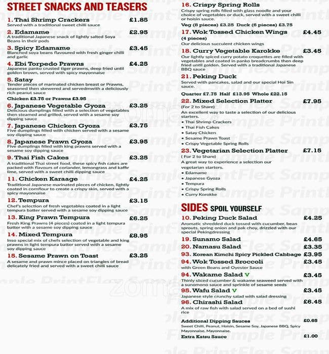 Menu at inso pan asian cuisine restaurant northwood joel for Asia asian cuisine menu