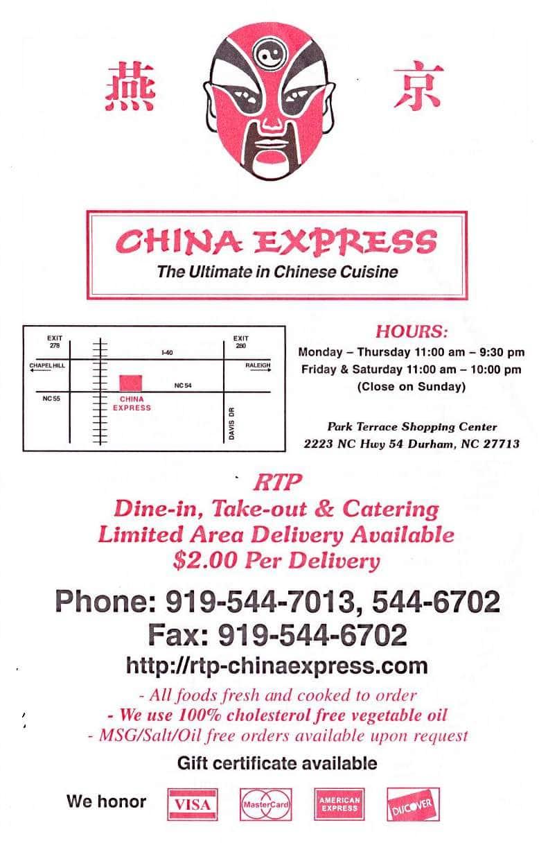China Express Menu, Menu for China Express, RTP, Research Triangle ...