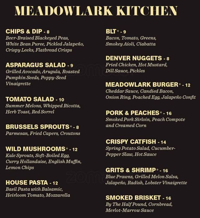 Meadowlark Kitchen Menu Menu For Meadowlark Kitchen Rino Denver Urbanspoon Zomato