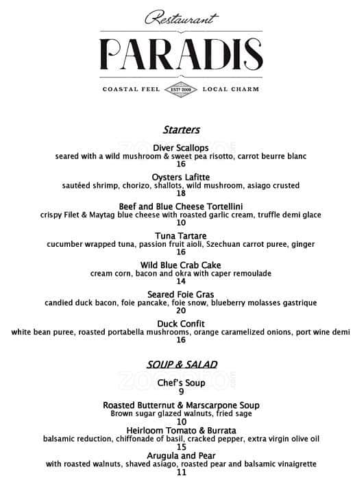 Restaurant Paradis Rosemary Beach Alys Menu
