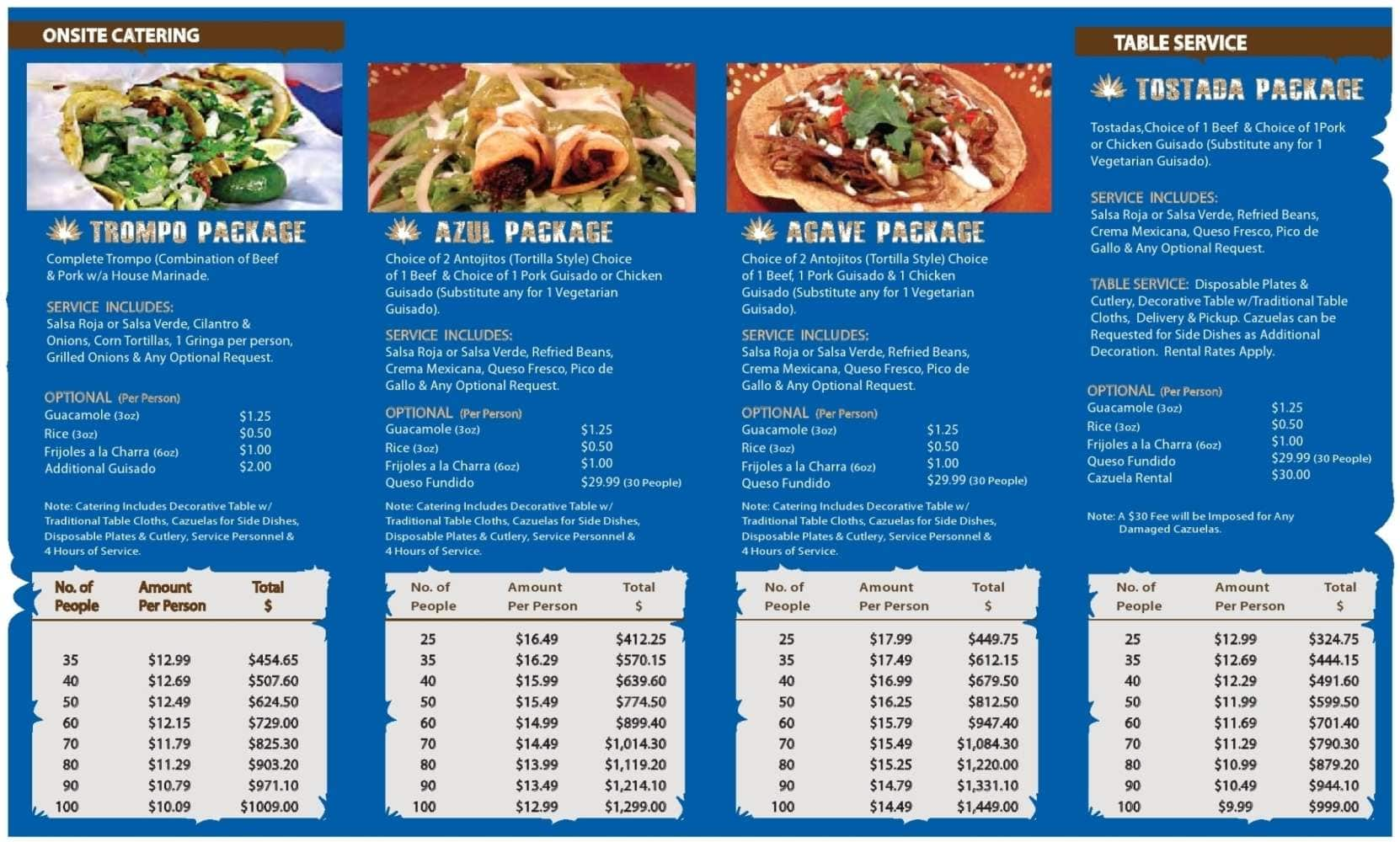 Agave Mexican Food Menu