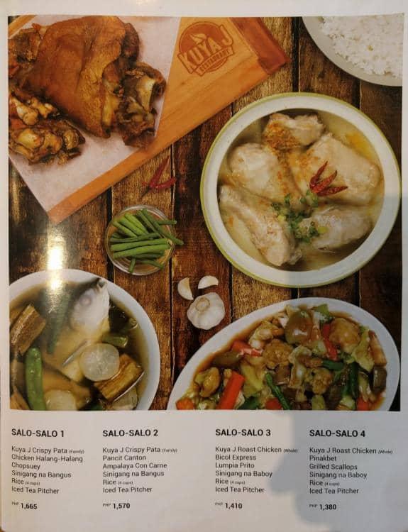 kuya j menu