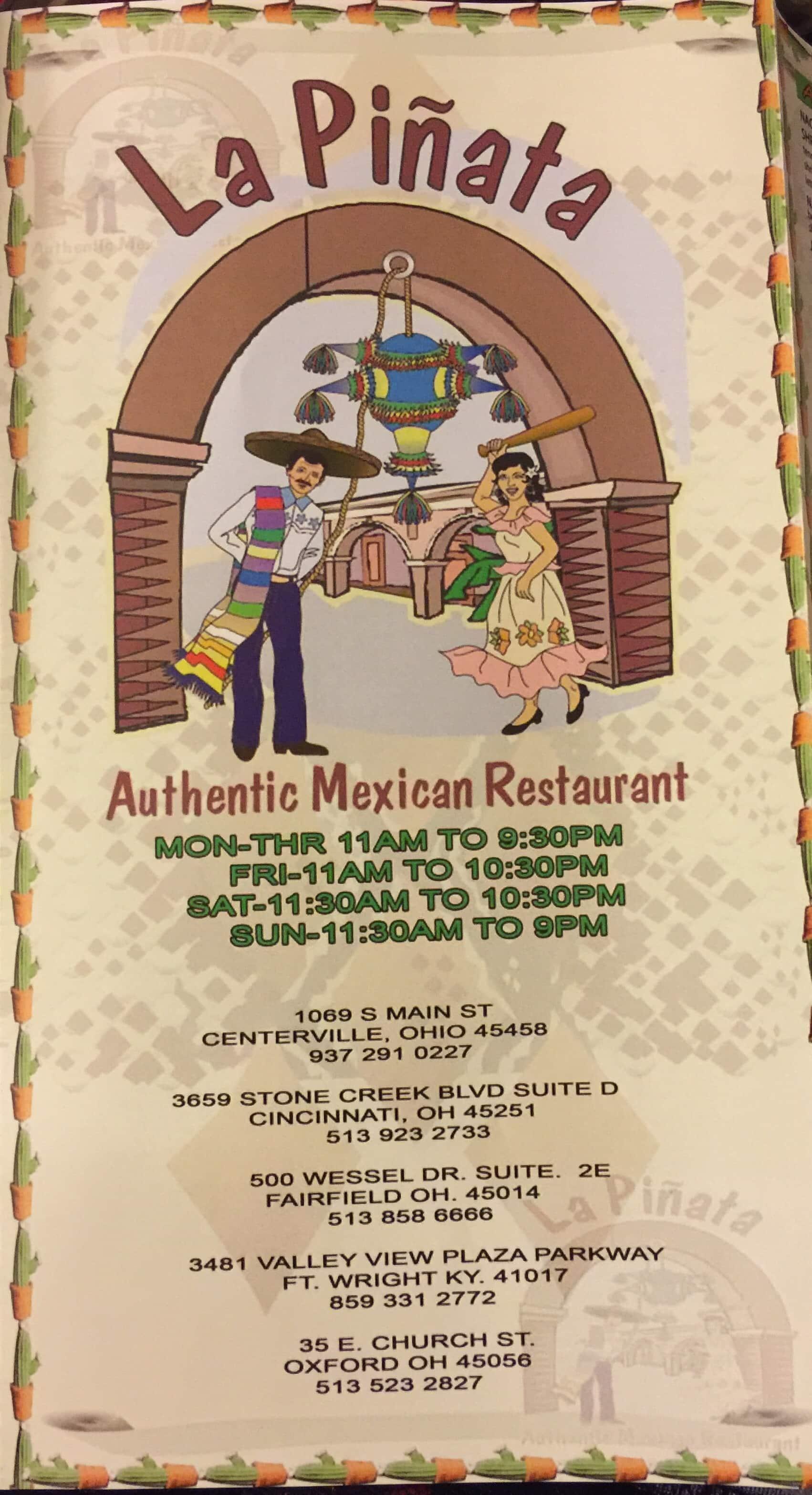 La Pinata Restaurant Colerain Township Menu